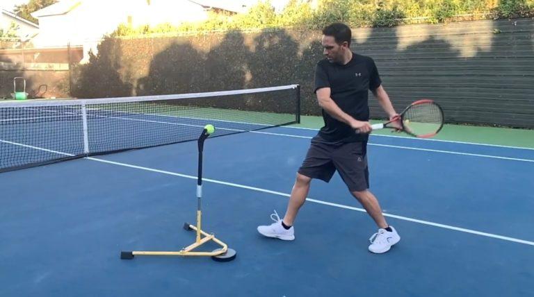 A player training tennis swing using Billie Jean King's Eye Coach junior