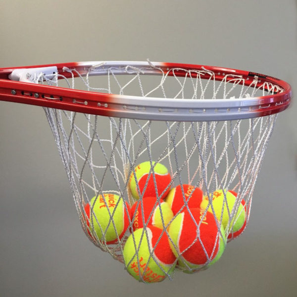 Catching racquet with multiple tennis balls